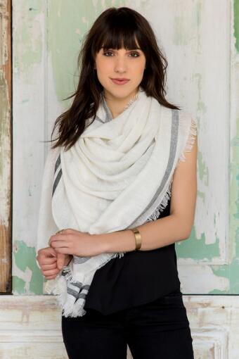 Angeline Frayed Wrap in White