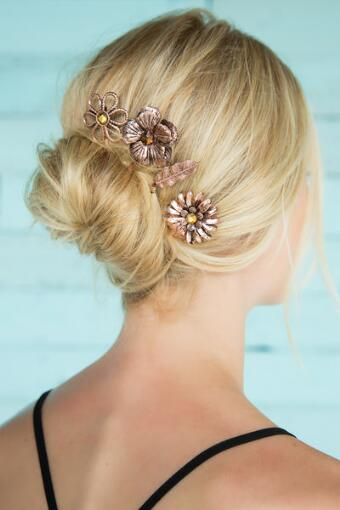 Brass Flower Bobby Pins Set