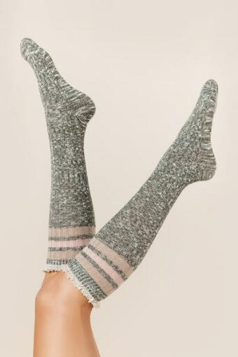 Gray Marled Ribbed Knee High Socks