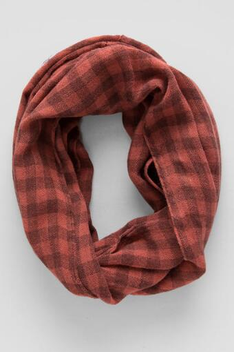 Checkered Loop Scarf in Coral