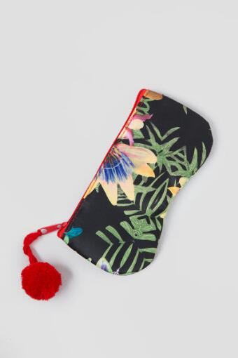 Tropical Zipper Sunglass Case in Black