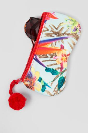 Tropical Zipper Sunglass Case
