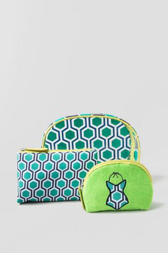 Summer Cosmetic Bag in Geometric Green
