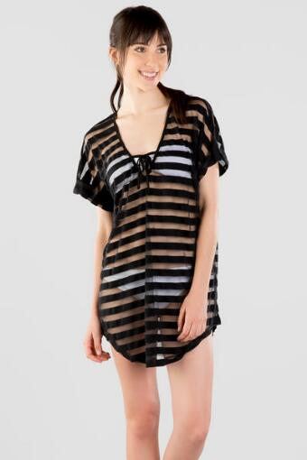 Crystal Stripe Swim Cover-Up