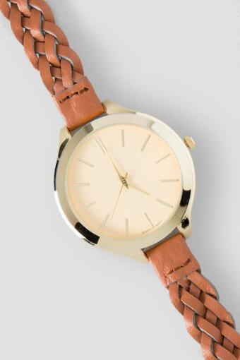 Fiona Braided Watch in Cognac