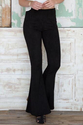 Quinn Faux Suede Bell Bottom Pants