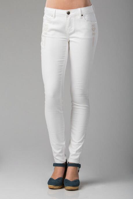Harper Ultra Skinny Embroidered Jean in White