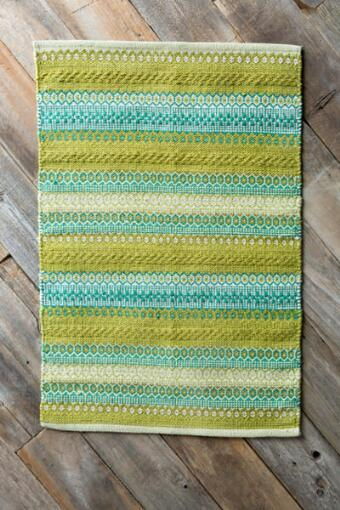 Lime & Aqua Hand Woven Accent Rug