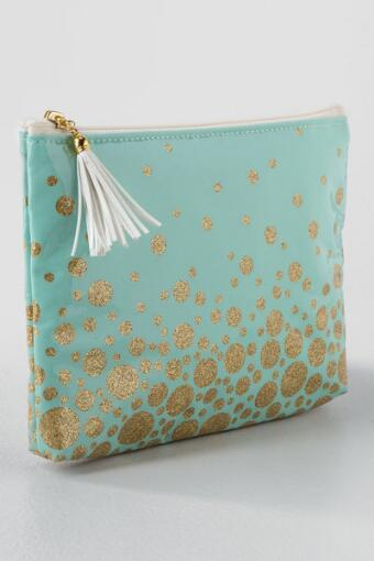 Mint & Gold Confetti Zippered Pouch