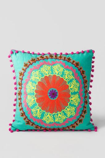 Embroidered Pillow in Sea Green