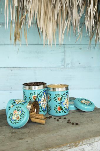Floral Hand Painted Canisters Set of 3