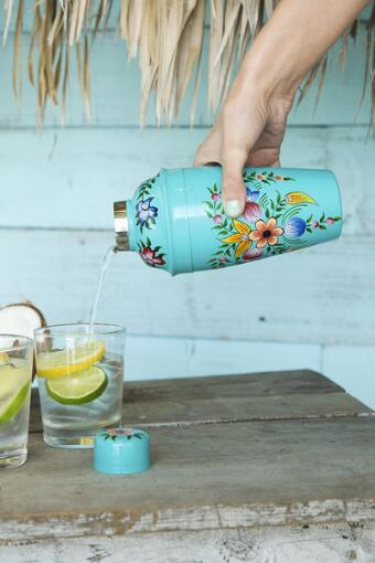 Floral Hand Painted Cocktail Shaker