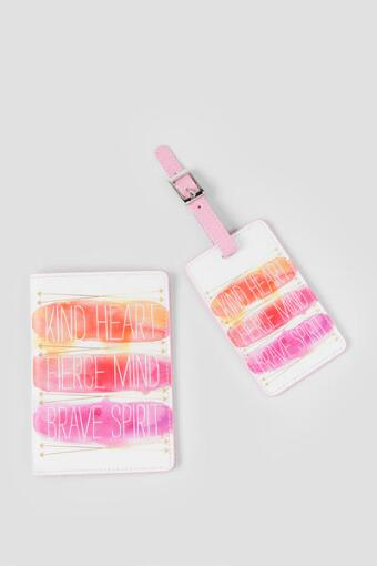 Pink and Orange Watercolor Brave Spirit Luggage Tag and Passport Set