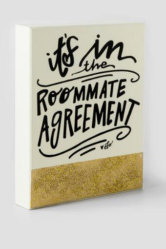 Roommate Agreement Gold Glitter Sign