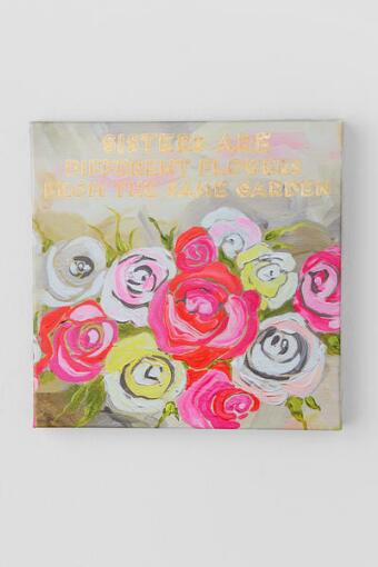 Sisters Flowers Canvas Wall Decor