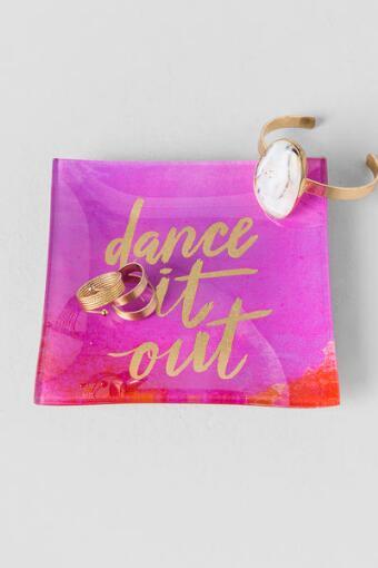 Pink and Gold Watercolor Glass Dance It Out Trinket Tray