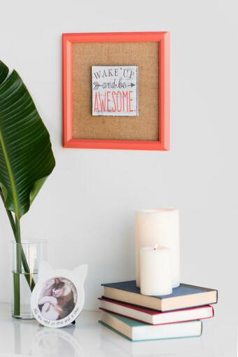 Wake Up and Be Awesome Burlap Wall Decor