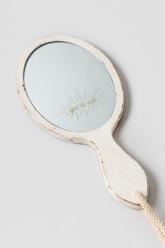 You're Cute Wood Hand Mirror