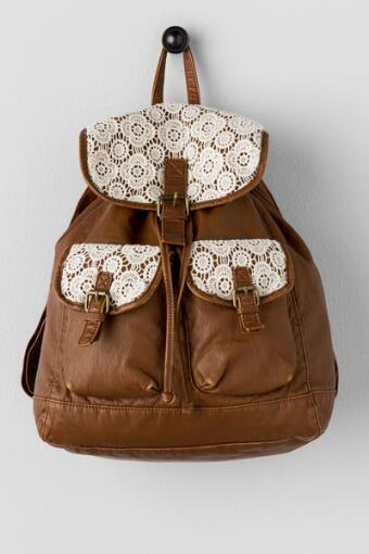 Ryder Crochet Backpack in Cognac
