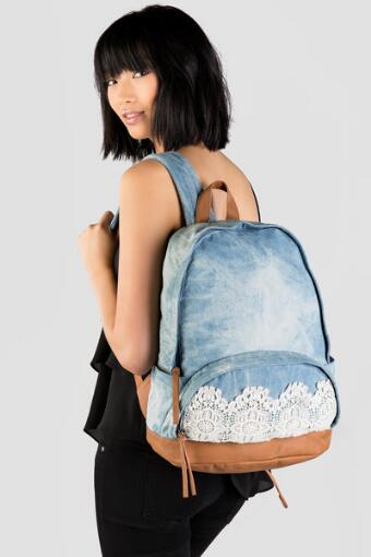 Crochet Denim Backpack