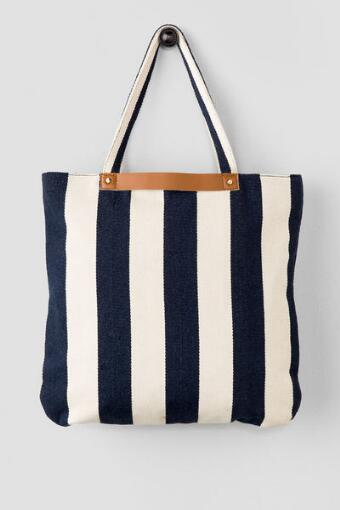 Harbor Blue & White Stripe Tote
