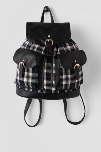 Black Plaid Backpack