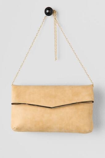 Nancy Fold Over Clutch in Beige