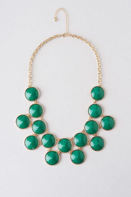Bellaire Circle Drop Necklace in Green