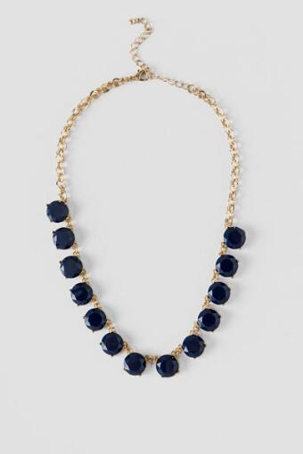 Lettie Large Crystal Necklace in Navy