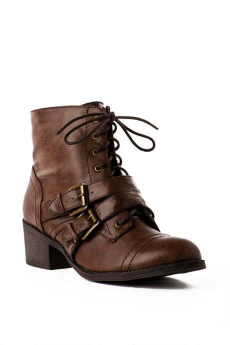 Pink and Pepper Shoes, Opera Combat Bootie in Brown