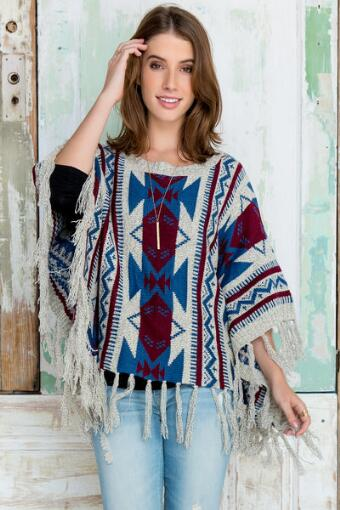 Calle Rancho Mosaic Poncho Sweater